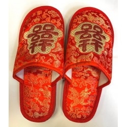 Embroidered Brocade Slippers